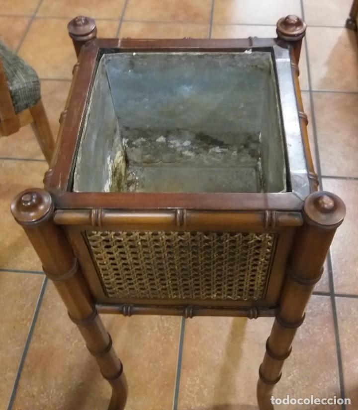 Antigüedades: MACETERO JARDINERA DE MADERA. INTERIOR METAL. - Foto 3 - 213938580