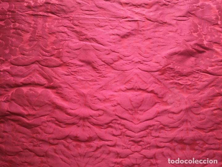 Antigüedades: 158 x 91 tela brocado damasco ROJO GRANATE COFRADE virgen balcolera saya manto capilla semana santa - Foto 2 - 270961868