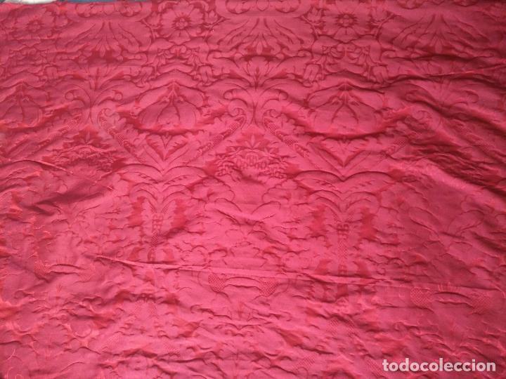 Antigüedades: 158 x 91 tela brocado damasco ROJO GRANATE COFRADE virgen balcolera saya manto capilla semana santa - Foto 5 - 270961868