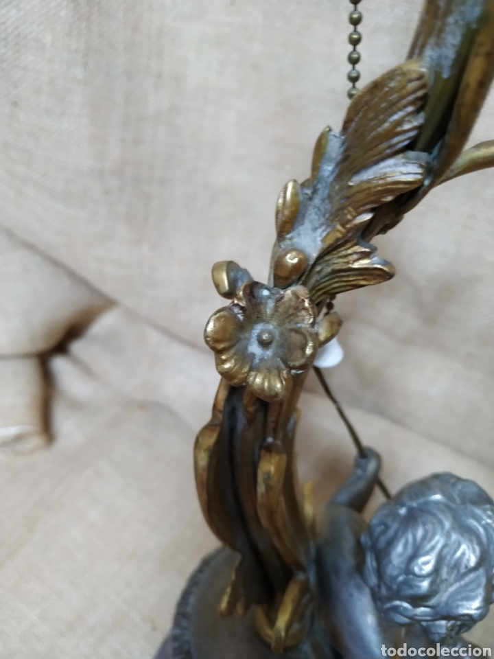 Antigüedades: Làmpara bronce y otros metales ,mármol .Años 50 ó 60 . - Foto 13 - 213986078