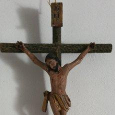 Antigüedades: GRAN CRUCIFIJO ANTIGUO EN MADERA. Lote 214007756