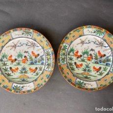 Antigüedades: PAREJA DE PLATOS CHINA PARA EXPORTACIÓN , MADE IN CHINA CON MOTIVOS DE GALLOS , PLATES CHINA EXPORT. Lote 214042270