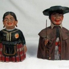 Antiquités: ANTIGUA PAREJA GIGANTILLOS. BURGOS. REALIZADAS EN TERRACOTA. BARRO. PINTADAS A MANO.. Lote 214049965