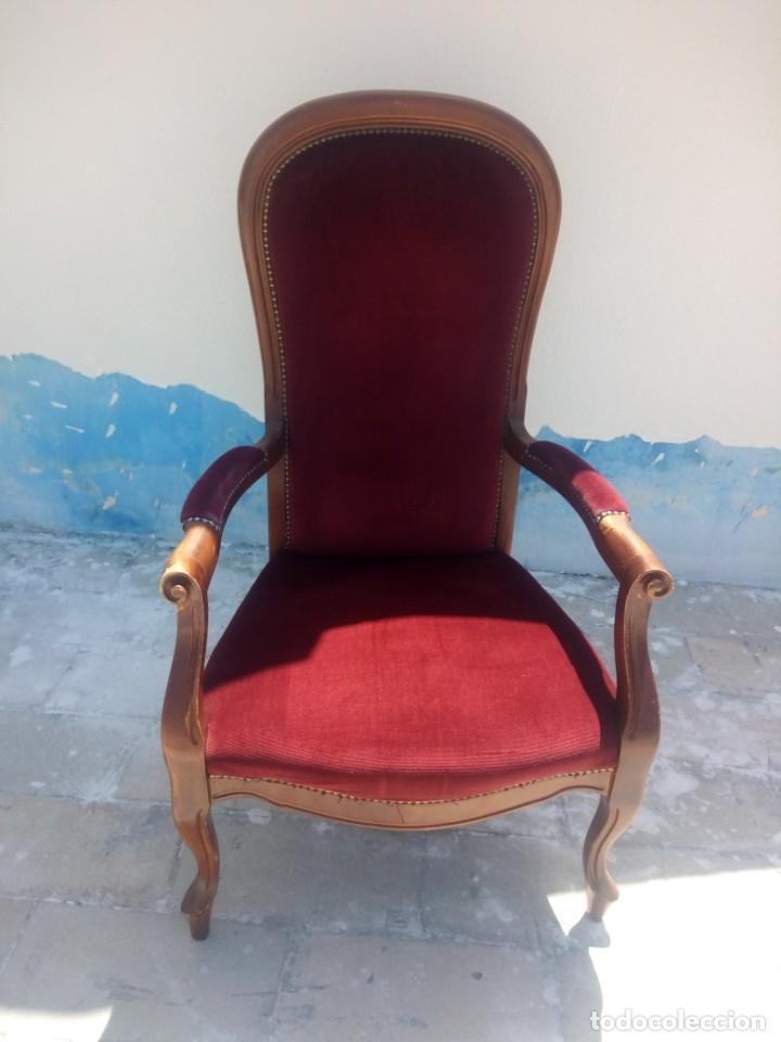 Antigüedades: Antiguo sillón butacón de muelles,roble macizo ,tapizado rojo sangre,sgl xix - Foto 2 - 214067058