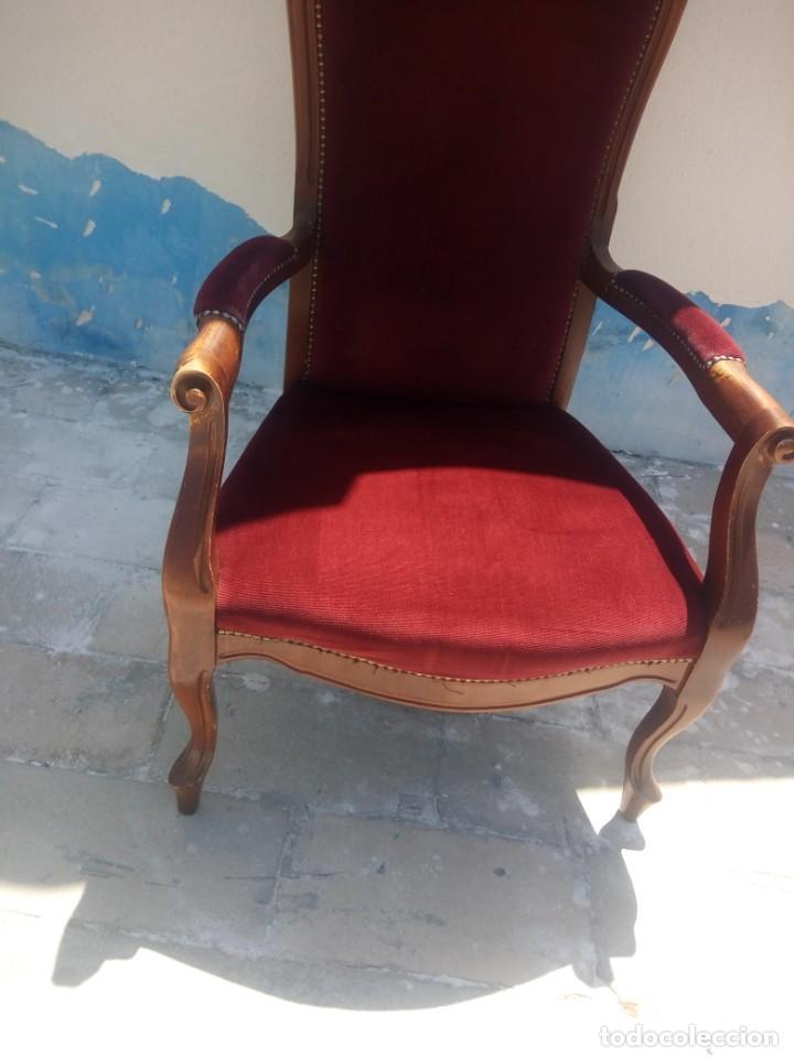 Antigüedades: Antiguo sillón butacón de muelles,roble macizo ,tapizado rojo sangre,sgl xix - Foto 3 - 214067058