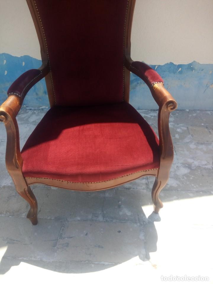 Antigüedades: Antiguo sillón butacón de muelles,roble macizo ,tapizado rojo sangre,sgl xix - Foto 4 - 214067058