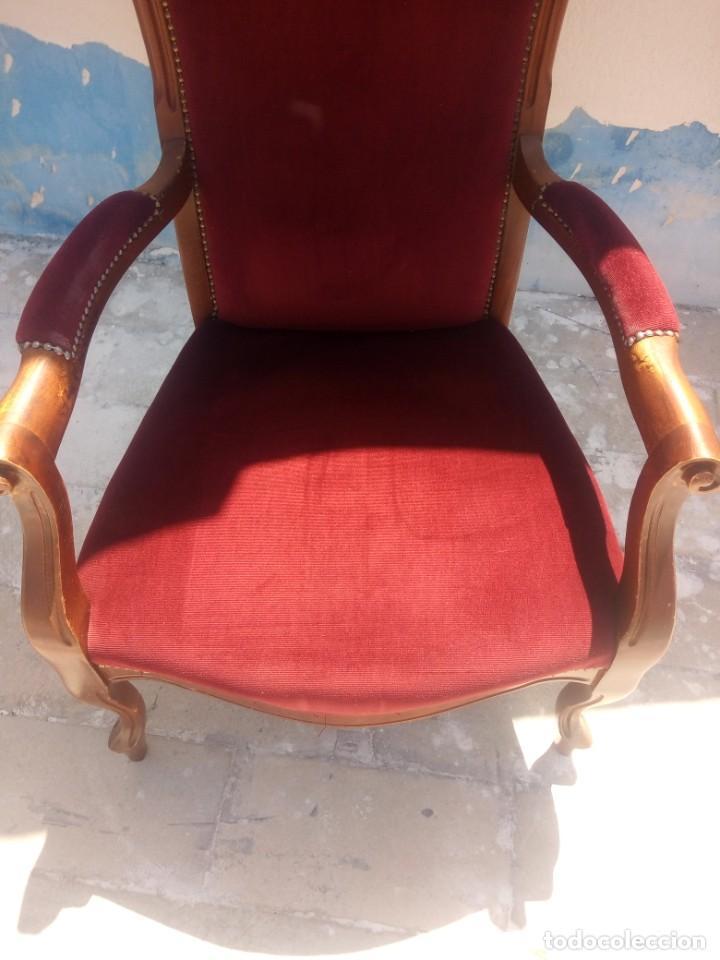 Antigüedades: Antiguo sillón butacón de muelles,roble macizo ,tapizado rojo sangre,sgl xix - Foto 5 - 214067058
