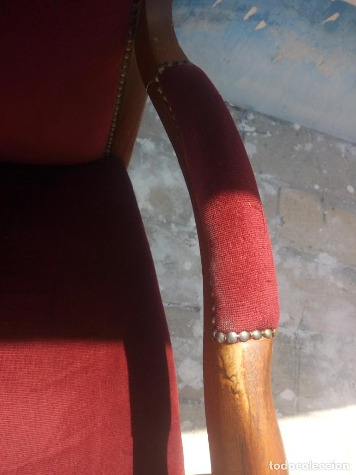 Antigüedades: Antiguo sillón butacón de muelles,roble macizo ,tapizado rojo sangre,sgl xix - Foto 6 - 214067058