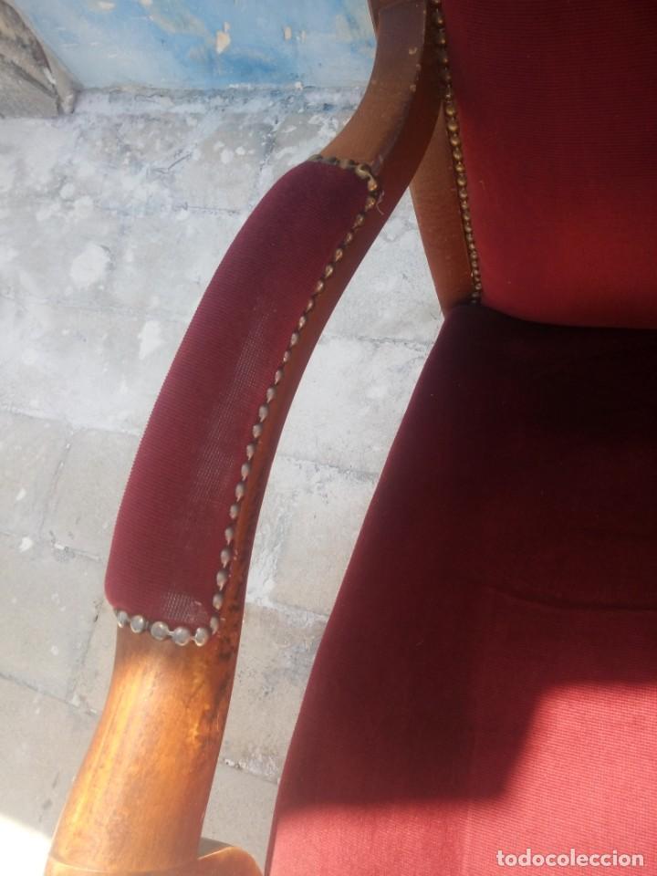 Antigüedades: Antiguo sillón butacón de muelles,roble macizo ,tapizado rojo sangre,sgl xix - Foto 7 - 214067058