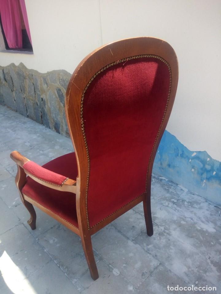 Antigüedades: Antiguo sillón butacón de muelles,roble macizo ,tapizado rojo sangre,sgl xix - Foto 8 - 214067058
