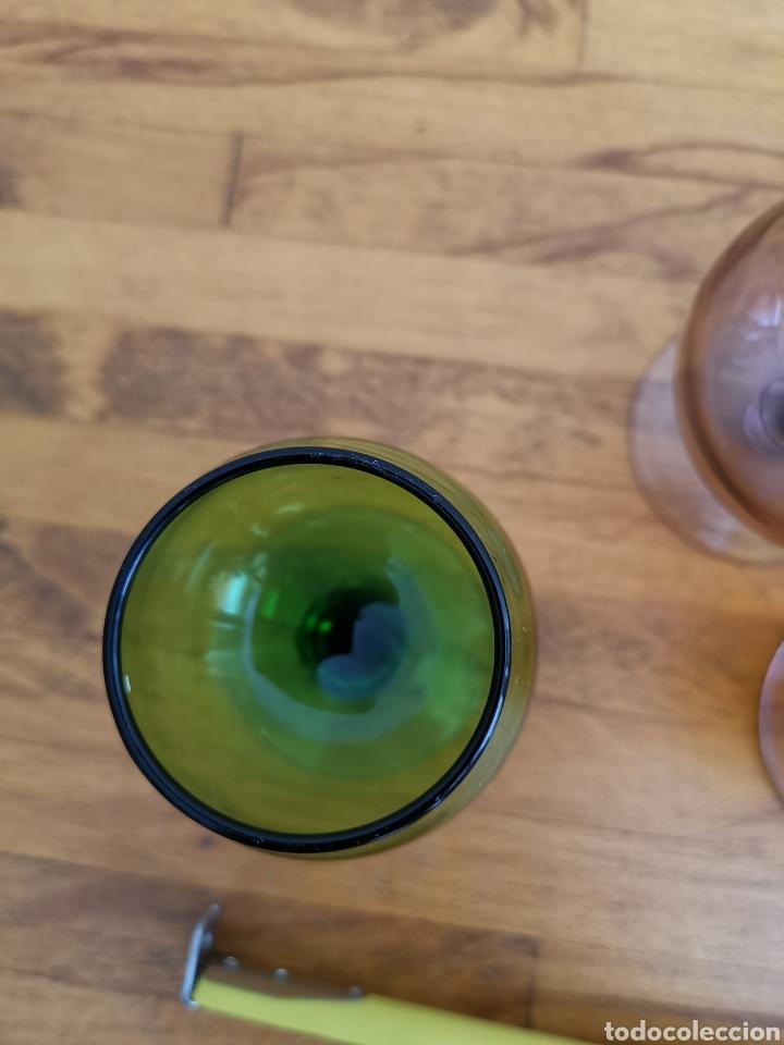 Antigüedades: 5 copas tipo conyac de cristal de colores 1960s 1970s - Foto 5 - 214097366