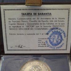 Antigüedades: EXCLUSIVA MEDALLA CONMEMORATIVA DE LA MUERTE DE FRANCO (PLATA). Lote 214097735