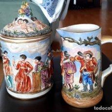 Antigüedades: ANTIGUA JARRA Y BOMBONERA CAPODIMONTE MARCA EN LA BASE. Lote 214108753