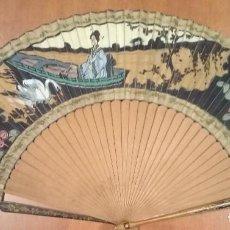 Antigüedades: ABANICO INSPIRACIÓN JAPONESA INICIOS S. XX. PINTADO A MANO SOBRE SEDA. Lote 214129192