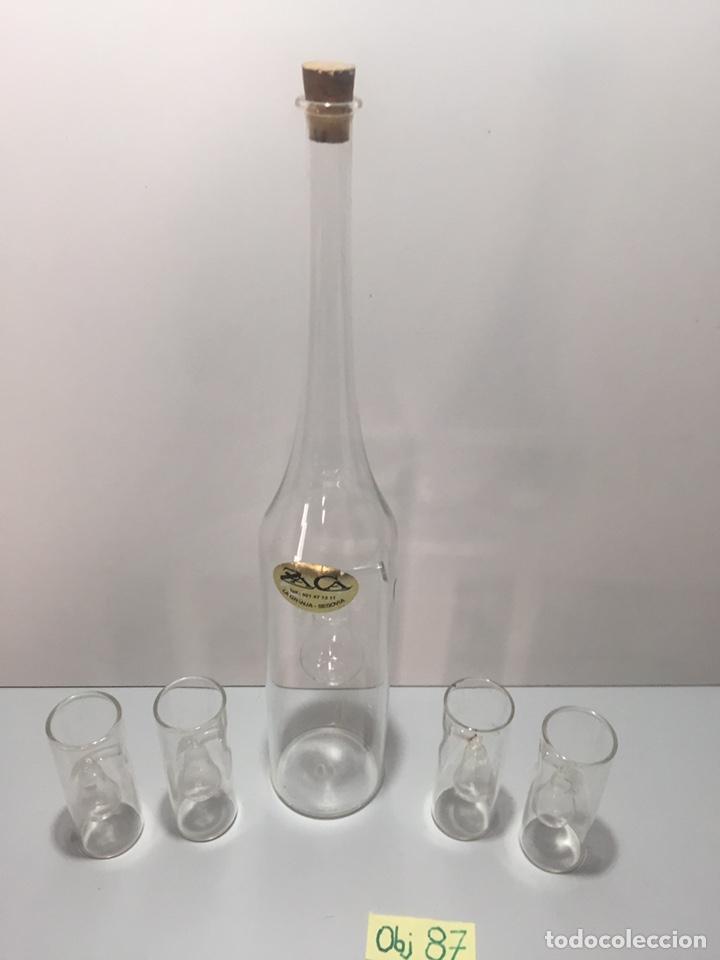BOTELLA CRISTAL Y VASOS DE LA GRANJA, SIGLO XIX (Antigüedades - Cristal y Vidrio - La Granja)