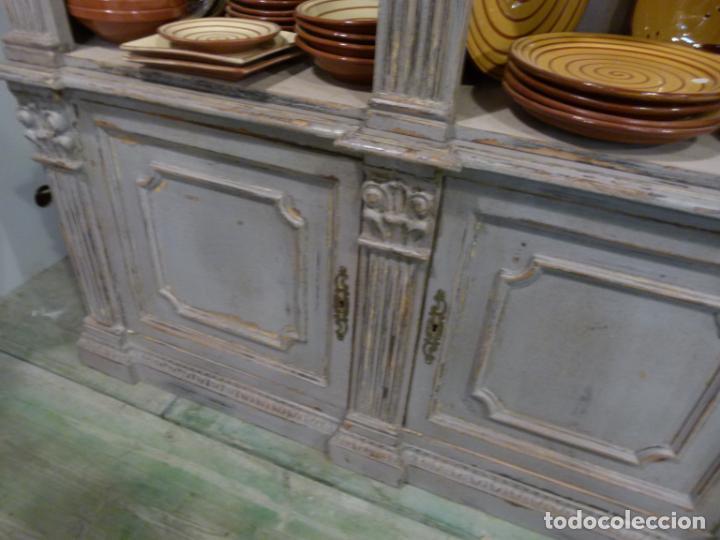 Antigüedades: CONJUNTO DE LIBRERIAS DE MADERA PATINADA - Foto 4 - 214153112