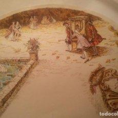 Antigüedades: C. 1900. PAÍS ABANICO PINTADO A MANO SOBRE CARTONÉ CON ESCENA GALANTE. VER 5 FOTOS.. Lote 214164236