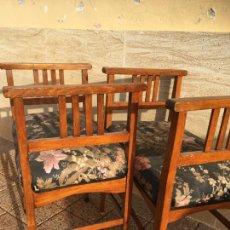 Antigüedades: PAREJA DE BANQUETAS DESCALZADORES 38 X 55 EL ASIENTO Y DESDE EL SUELO 50 CM ASIENTO,ALTO 73 CMS.. Lote 243533250