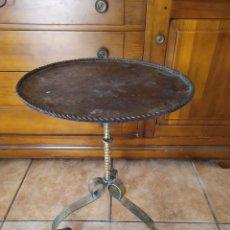 Antiquités: VELADOR DE HIERRO FORJADO CON PÁTINA DORADA. AÑOS 70. Lote 214182238