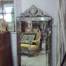Antigüedades: ANTIGUO ESPEJO VENECIANO. GRAN FORMATO. Lote 214186328