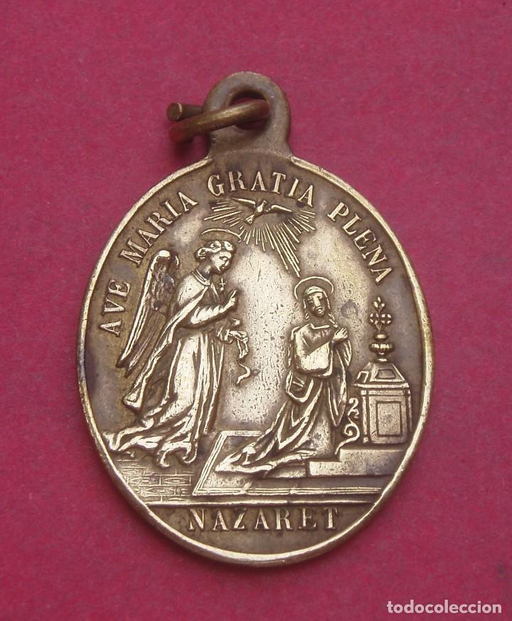 MEDALLA ANTIGUA LA ANUNCIACIÓN. ORDEN FRANCISCANA. NAZARET. (Antigüedades - Religiosas - Medallas Antiguas)