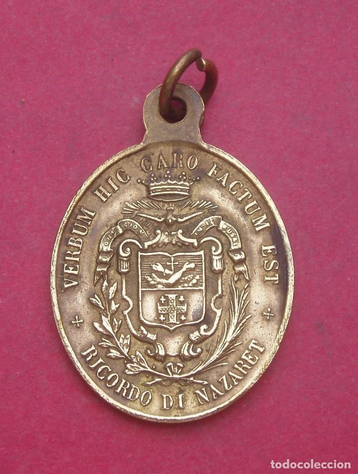 Antigüedades: Medalla Antigua La Anunciación. Orden Franciscana. Nazaret. - Foto 2 - 214193808
