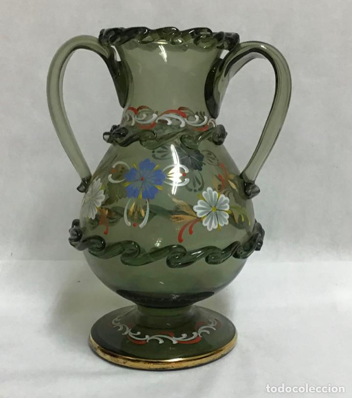 Antigüedades: ANTIGUO JARRÓN CRISTAL ESMALTADO - Foto 2 - 214197181