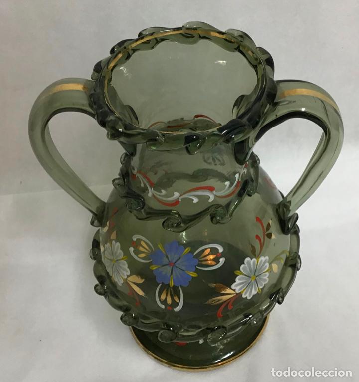 Antigüedades: ANTIGUO JARRÓN CRISTAL ESMALTADO - Foto 3 - 214197181