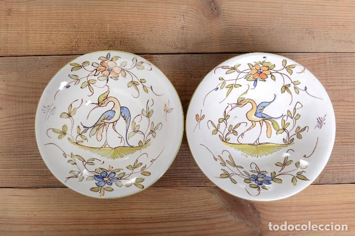 Antigüedades: Par de Platos antiguos pequeños de cerámica francesa la Tolosana - Foto 8 - 214204526