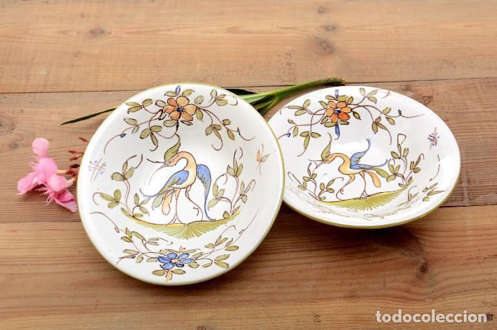 Antigüedades: Par de Platos antiguos pequeños de cerámica francesa la Tolosana - Foto 10 - 214204526
