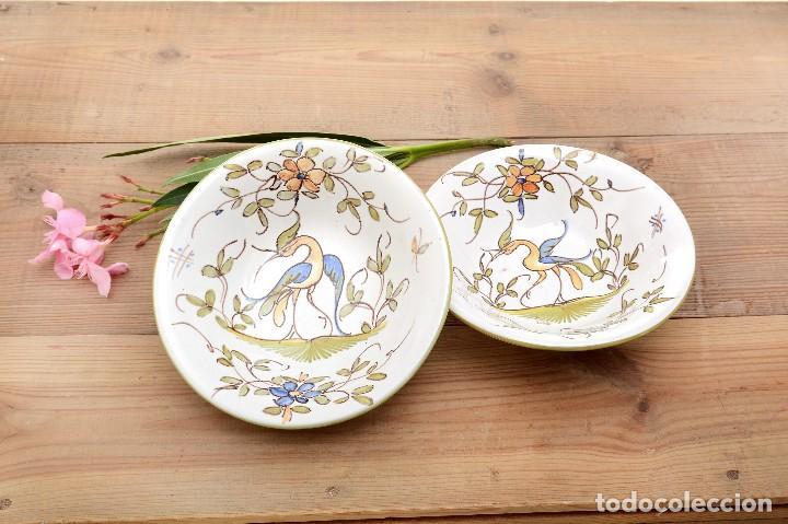 Antigüedades: Par de Platos antiguos pequeños de cerámica francesa la Tolosana - Foto 11 - 214204526