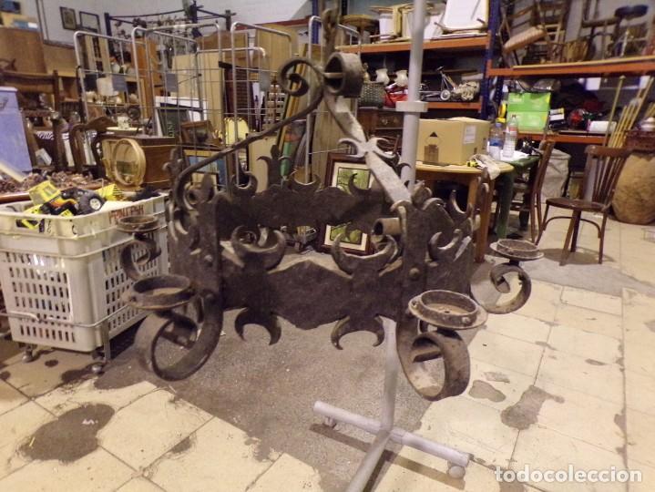 Antigüedades: gran lampara hierro forjado muy trabajada - Foto 2 - 214254601