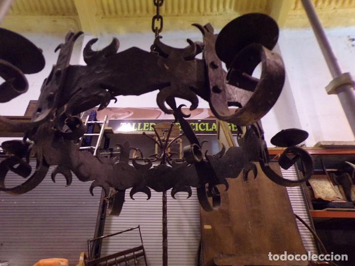 Antigüedades: gran lampara hierro forjado muy trabajada - Foto 7 - 214254601