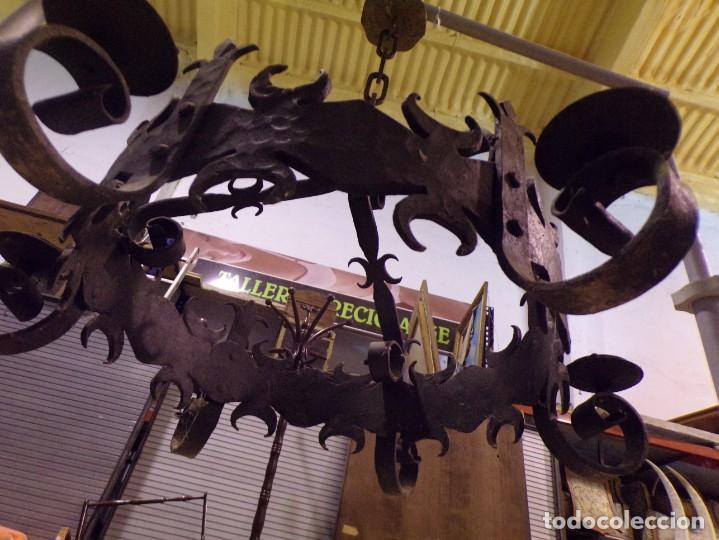 Antigüedades: gran lampara hierro forjado muy trabajada - Foto 8 - 214254601