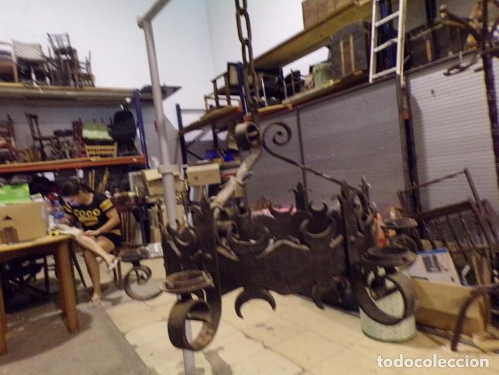 Antigüedades: gran lampara hierro forjado muy trabajada - Foto 9 - 214254601