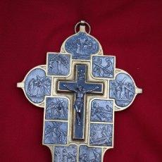 Antigüedades: 14 ESCENAS DE LA PASIÓN DE CRISTO EN BRONCE DORADO Y METAL, CON CRISTO. Lote 214292357