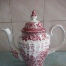 Antigüedades: BONITA CAFETERA DE PORCELANA MERRIE OLDE ENGLAND BRITISH ANCHOR ENGLAND EST 1884 IRON STONE. Lote 214304537