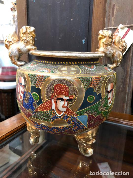 ANTIGUO TIBOR CERAMICA SATSUMA - MEDIDA 23X22 CM (Antigüedades - Porcelana y Cerámica - Japón)