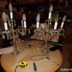 Antigüedades: PAREJA DE CANDELABROS 6 LUCES BRONCE PUTTIS NIÑOS DESNUDOS ESTILO NEOCLASICO SIGLO XX. Lote 214331676