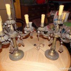 Antigüedades: PAREJA CANDELABROS BRONCE 4 LUCES. Lote 214335321