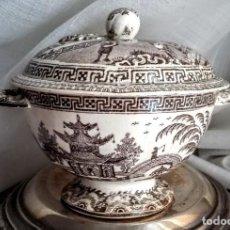 Antigüedades: ANTIGUA SALSERA/SOPERA CON TAPA DISEÑO DE INSPIRACIÓN CHINESCA. Lote 214339193