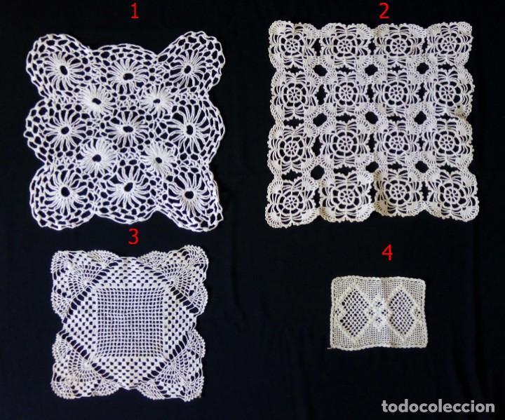 CUATRO ANTIGUOS TAPETES HECHOS A MANO DE GANCHILLO CROCHET DE HILO GRUESO (2) Y FINO (2) (Antigüedades - Hogar y Decoración - Tapetes Antiguos)