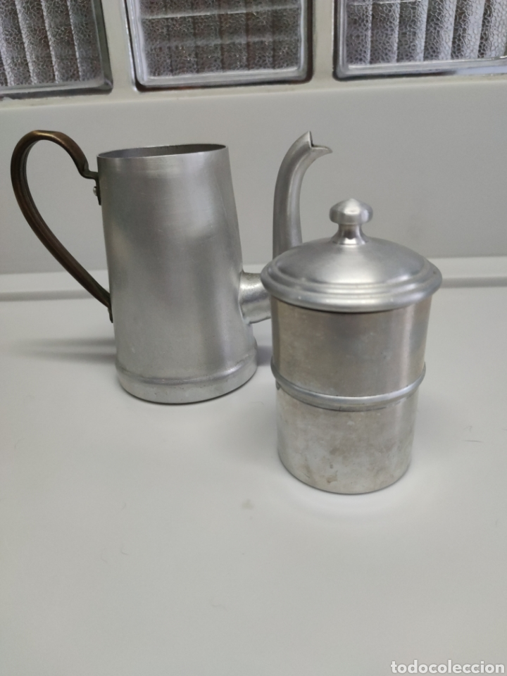 Antigüedades: Cafetera aluminio - Foto 3 - 214366762