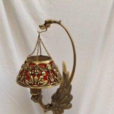 Antigüedades: LAMPADA DE BRONCE DE SOBREMESA. Lote 214375821