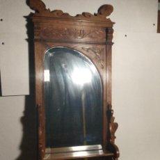 Antigüedades: HERMOSO ESPEJO MODERNISTA Y MADERA TALLADA DE 117 CM. Lote 214375940