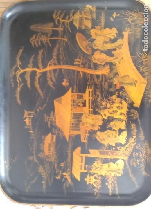 GRAN Y PRECIOSA BANDEJA CHINA 48 CM X 60 CM,EN MADERA, ESMALTADA DE PRINCIPIOS DEL XIX (Antigüedades - Hogar y Decoración - Bandejas Antiguas)