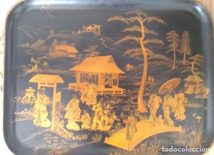 Antigüedades: GRAN Y PRECIOSA BANDEJA CHINA 48 cm x 60 cm,EN MADERA, ESMALTADA DE PRINCIPIOS DEL XIX - Foto 2 - 214409615