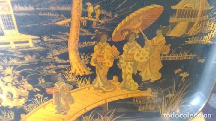 Antigüedades: GRAN Y PRECIOSA BANDEJA CHINA 48 cm x 60 cm,EN MADERA, ESMALTADA DE PRINCIPIOS DEL XIX - Foto 3 - 214409615