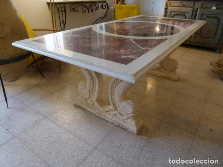 Antigüedades: MESA DE MARMOL CON INCUSTRACIONES - Foto 2 - 214447812