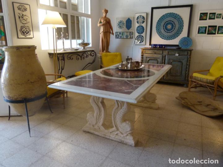 Antigüedades: MESA DE MARMOL CON INCUSTRACIONES - Foto 3 - 214447812
